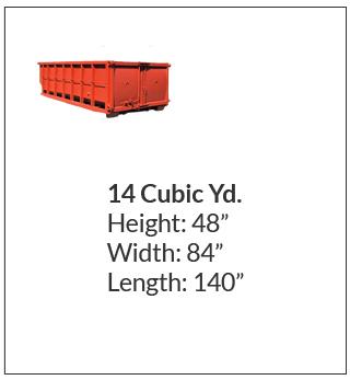 14 cubic yard waste bin