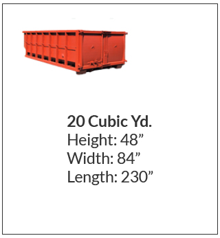 20 cubic yard waste bin